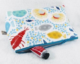 make up bag, toiletry bag, Aqua make up bag, blue toiletry bag, nautical wash bag, cosmetic bag,  cosmetic bag, turquoise make up bag