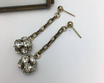 Rhinestone Earrings rhinestone disco balls earrings Vintage Assemblage Earrings