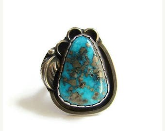 ON SALE Vintage Navajo Morenci Turquoise Statement Ring Signed Platero Sterling Silver Size 6.5 Native American