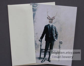 Deer Note Card, Stag Art, Eco-Friendly Blank Note Card with Envelope, Father's Day, Greeting Card for Men, For Him, Animal in Suit, Oddities