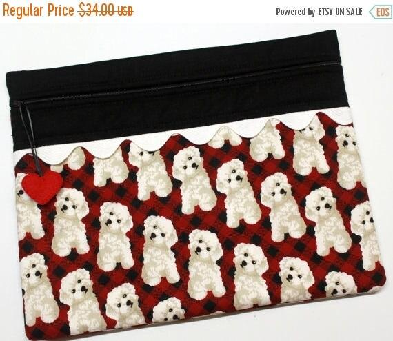 SALE Fluffy Dog Cross Stitch Embroidery Project Bag