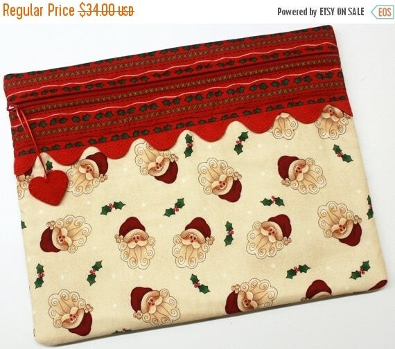 SALE Stitched Santa Christmas Cross Stitch Embroidery Project Bag