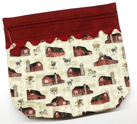 MORE2LUV Farmhouse Barns Cross Stitch Embroidery Project Bag