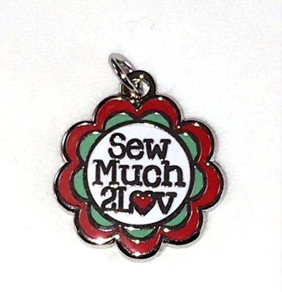 """Custom SewMuch2Luv 5/8"""" Enamel Charm"""