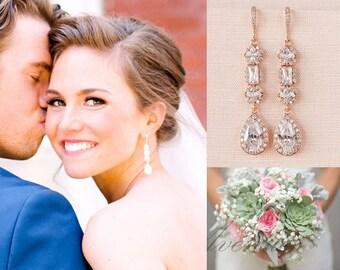 Gold Bridal Earrings, Crystal Wedding earrings, Long earrings, Wedding Jewelry, Rose Gold, Bridal Jewelry, Julienne Crystal Earrings