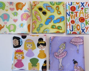 Cloth Napkins for Girls, variety set of 5, Lunch box or Dinner, Summer Camp or Back to School Childrens Napkins, Handmade, Ready to ship