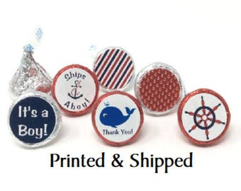 324 Baby Shower Nautical Stickers for Candy Kiss® - Nautical Ships Ahoy Anchor, Wheel Red and Blue Labels for Chocolate Kisses