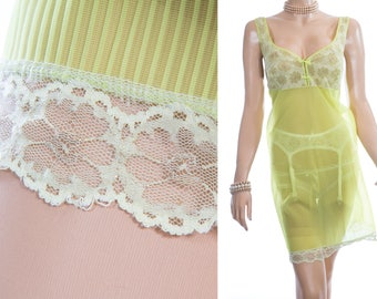 Eye catching soft incredibly sheer vibrant citrus green nylon and sparkling floral lace detail 60's vintage full slip petticoat - 3943