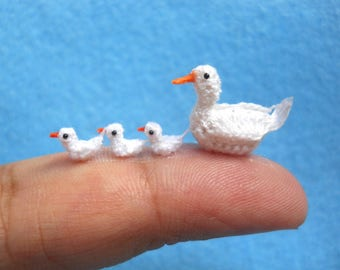 White Duck Family  - Micro Crocheted Ducks - Made To Order