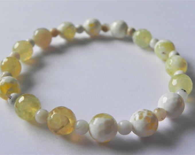 Yellow agate and opal stretch gemstone bracelet.