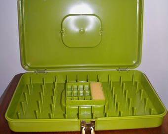 Vintage Sewing  Box Thread Box Green Holds 48 Spools of Thread and 12 Bobbins