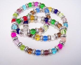 Colorful glass bracelet Elastic colorful beaded bracelet One bracelet