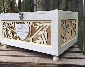 Wedding Card Box - Love Letter Box - Laser Cut Box - Mr. & Mrs. Wedding Decor - Wishing Well Box - Wedding Money Box - Wedding Advise Box