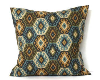 Southwest Throw Pillow Cover Decorative Pillow Blue Pillow Green Pillow Gold PIllow Euro Sham 26x26 24x24 22x22 20x20 18x18 16x16