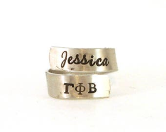 Gamma Phi Beta Wrap Ring | Gamma Phi Beta Ring | Gamma Phi Beta Official Licensed Product | Personalized Ring | Big Little Sorority