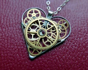 "Gear Heart Necklace ""Stevenson"" Elegant Steampunk Heart Pendant Industrial Organic Mechanical Clockwork Love Gift Wife Girlfriend Present"