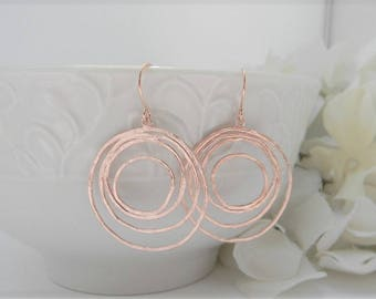 Rose Gold Earrings, Rose Gold Jewelry, Rose Gold Swirl Dangle Earrings, Statement Earrings, Dangle Earrings, Gift For Her, Mothers Day Gift