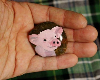 Miniature Piglet Painting on Small rock - Rock Art