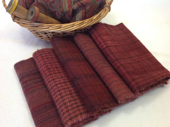 5) Fat 1/16ths, Old World Reds, Hand dyed wool fabric for Rug Hooking and Applique,  W354, Primitive Reds, Old Country Reds, Flag Reds
