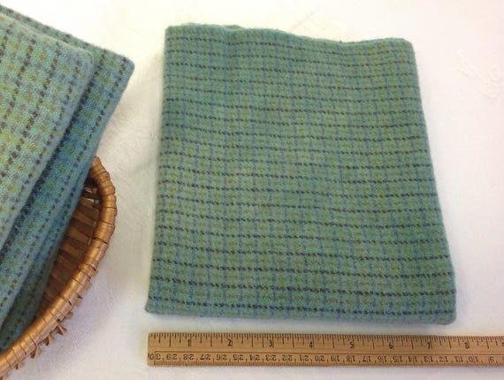 Fat 1/4 yard, Green Pastures, Hand Dyed Wool Fabric,  Rug Hooking Wool, Applique Wool, W431, Green Check, Country Green, Soft Green