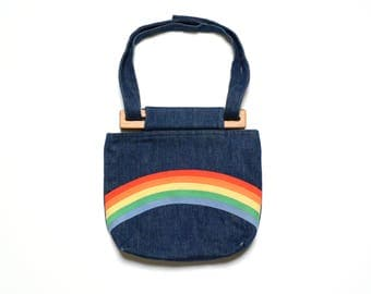 vintage 70s rainbow purse denim jean pocket handbag shoulder bag wood handle 1970 fashion accessory
