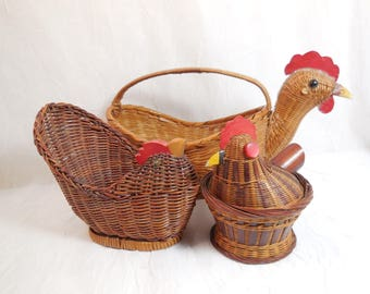 Chicken Baskets, Set of 3, Vintage Wicker, Chicken Trio Collection