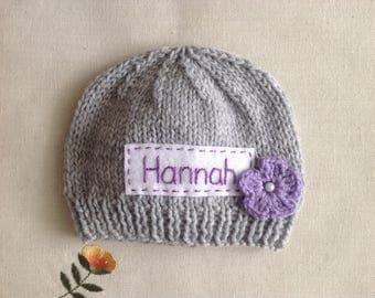 Newborn photo prop, grey newborn hat, personalized newborn hat, newborn girl, monogram baby hat, baby props, name beanie, newborn props