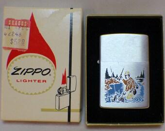 Vintage Zippo Brushed Chrome Fisherman Scene Lighter 1970