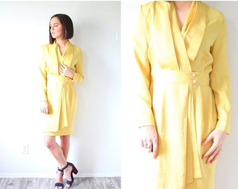 30% OFF SALE Vintage yellow mod long sleeve dress // yellow dress // yellow wiggle body con dress // button down dress // modest dress // fa