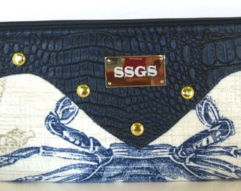 navy blue faux leather nautical clutch bag