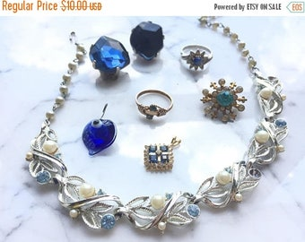 SUMMER SALE Shades of  Blue  Destash Craft Lot of Colorful  Rhinestone Jewelry Parts and Pieces for Repurposing