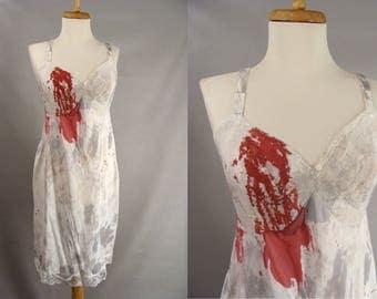 Vampire Victim Costume. Nylon Full Slip. Sexy Zombie Full Slip Costume. Custom Made. Bloody Halloween Costume. Womens 40 size L