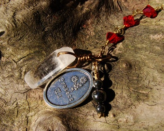 Red Swarovski Crystal Bead Sun Catcher. Mirror Dangly. Travel Protection. St Christopher Medal. Quartz Crystal Pendant. Unique Gift For Her