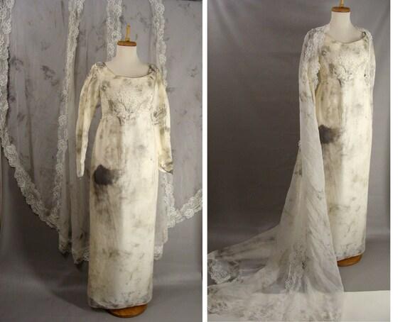 Zombie Wedding Dress For  : Distressed vintage s wedding dress w long train zombie