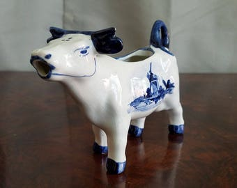Vintage Cow Creamer/Cream Pitcher Delft Blue Hand Painted Holland in Lovely Condition