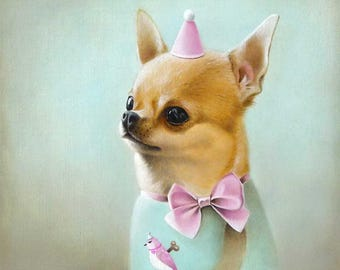 Chihuahua Original Oil Painting, Chihuahua Oil, Oil Chihuahua, Chihuahua Original Art, Chihuahua Painting,  animals in clothes