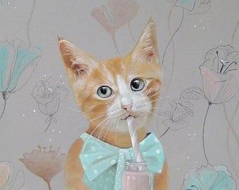 On Sale Cat animal print, art for kids room, girl  illustrations, animal illustrations cat girl print, cat gift, kids illustration, girls ro