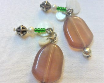 Pair of hand made charms, Brown and green, 30mm