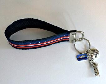 NEW YORK Key Fob   Key Chain Wristlet   New York State Flag   New York Charms   New York Flag   Birthday Gift