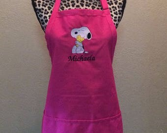 Embroidered Womens Kitchen Apron Personalized FREE Snoopy