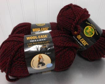 Wool Ease Thick & Quick Lion Brand Yarn CLARET #143 Acrylic Wool 3 Skeins X 6 OZ