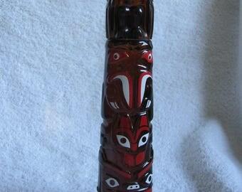 Vintage Avon Bottle Decanter Deep Woods After Shave Glass Totem Pole  - Full (#3)