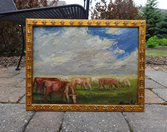 Mid Century Impressionist Landscape Painting of Cows by listed Artist Miklos Komlos