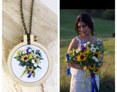 Custom Bouquet Hand Embroidered Necklace Design Your Own Wedding Flowers Keepsake Memory Anniversary Gift for Her Under 50