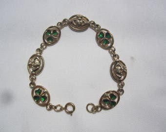 Claddagh and Enamel Shamrocks Bracelet by Solidor