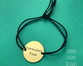 Custom Hand Stamped Brass Circle Charm Hemp Bracelet (Pick your Phrase, Font, and Color)