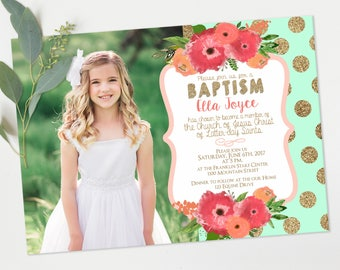 lds baptism invitations - Mint and Coral Floral and gold Christening - baptism announcement - Printable Digital Download