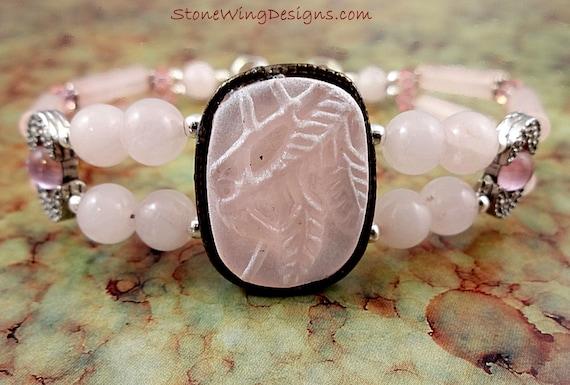 Rose Quartz Bracelet, Rose Bracelet, Quartz Bracelet, Pink Bracelet, Gemstone Bracelet, Gemstone Jewelry, Beaded Bracelet, Pink Stone