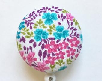 Flower Garden Badge Reel - Floral Badge Reel -Nurse Gift - Name Badge - Retractable Reel -  ID Badge Clip -  - Fabric Badge Reel
