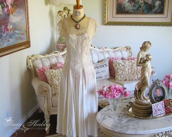Old Shabby Tattered Satin and LACE WEDDING DRESS, Mannequin Display, Shabby Chic